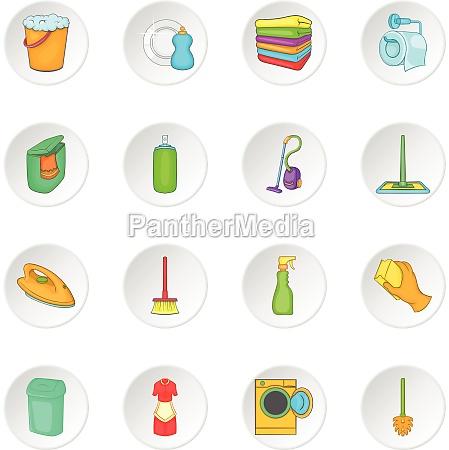 household elements icons set cartoon style