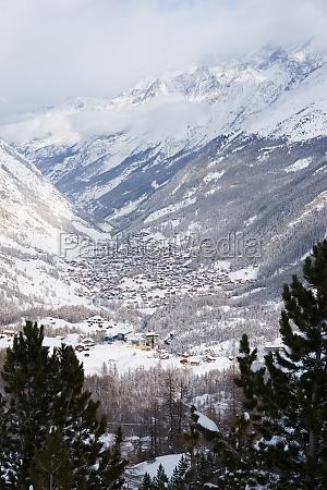 aerial view on zermatt valley and