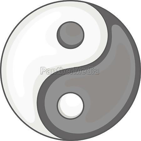 yin yang icon black monochrome style