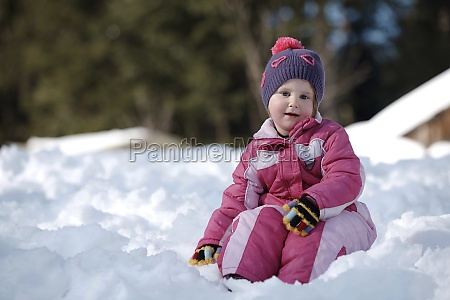 little girl at winter day