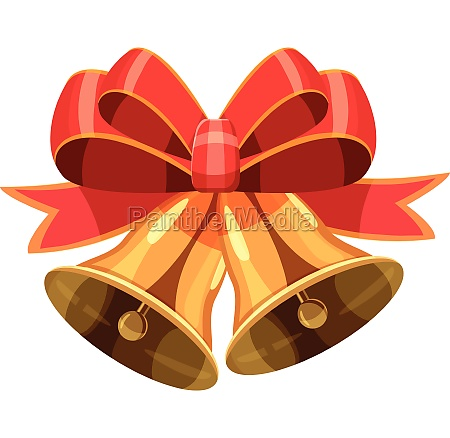christmas bells with red bow icon