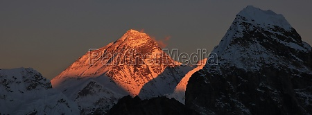 illuminated peak of mt everest at