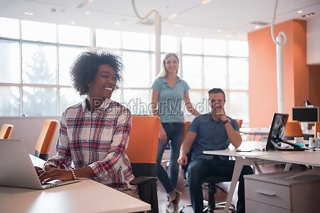 african american informal business woman working