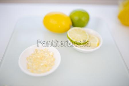 bowl of vitamins and a bowl