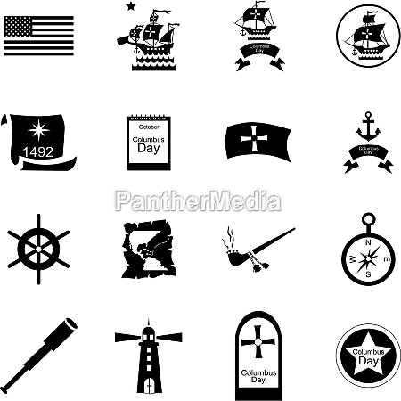 columbus day icons set cartoon style