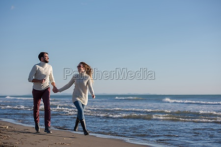 loving young couple on a beach