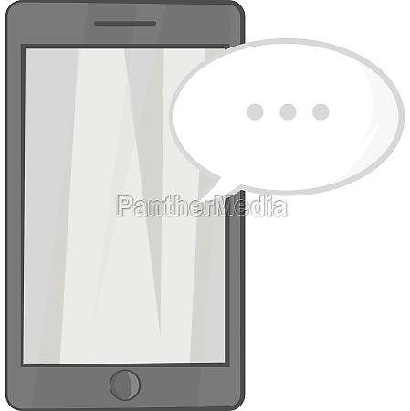 speech bubble on phone icon monochrome