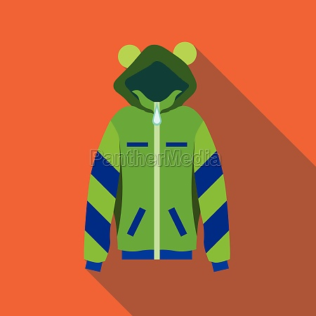 woman green hoodie icon flat style