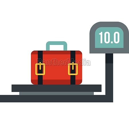luggage weighing icon flat style