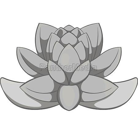 lotus flower icon black monochrome style
