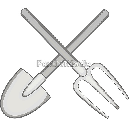 shovel and fork icon black monochrome