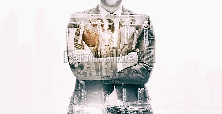 double exposure of business poeple group