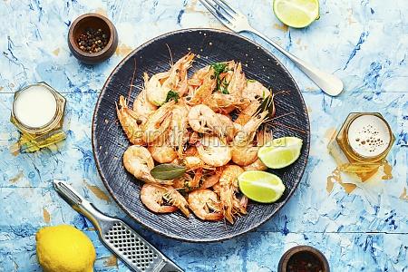 boiled shrimp and light beer