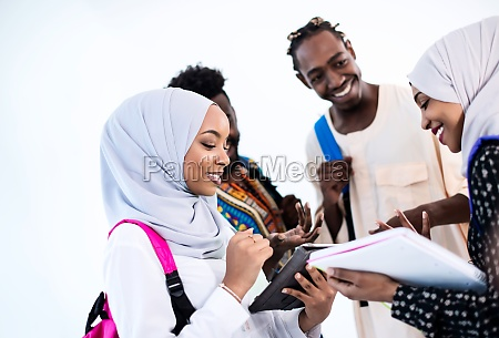 group of happy african students