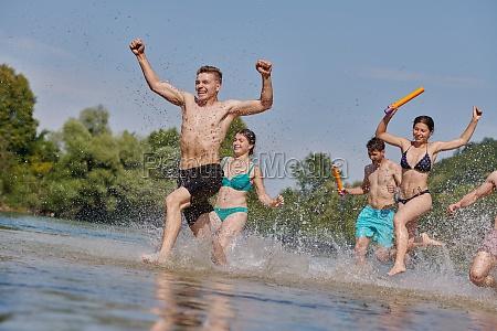 group of happy friends having fun