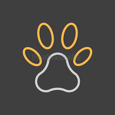 paw icon on dark background pet
