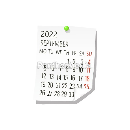 2022 september vector calendar