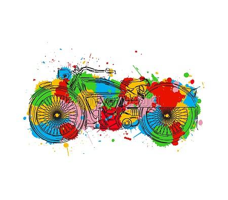 stylized motorcycle sketch