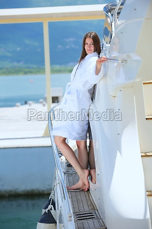 woman on luxury yacht