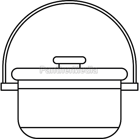 cauldron with lid icon outline style