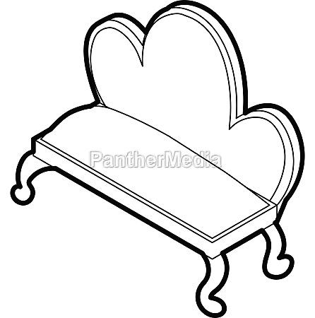 retro sofa icon outline style