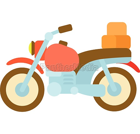 motorcycle with boxes icon cartoon style