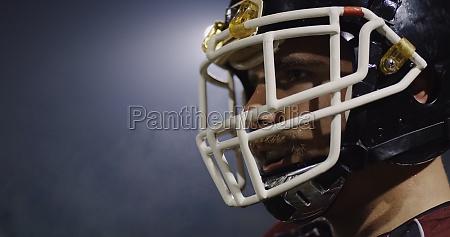 closeup portrait of american football player