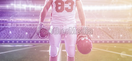 closeup american football player isolated on