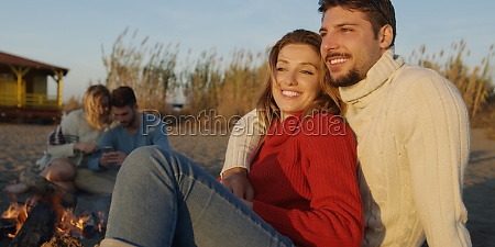 loving young couple sitting on the