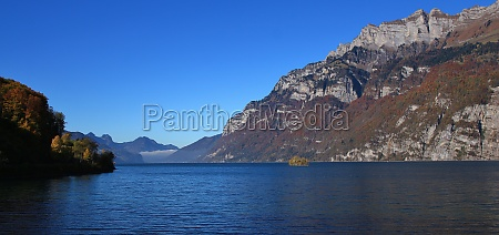 lake walensee and mountains of the