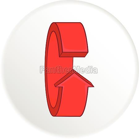 red round arrow icon cartoon style