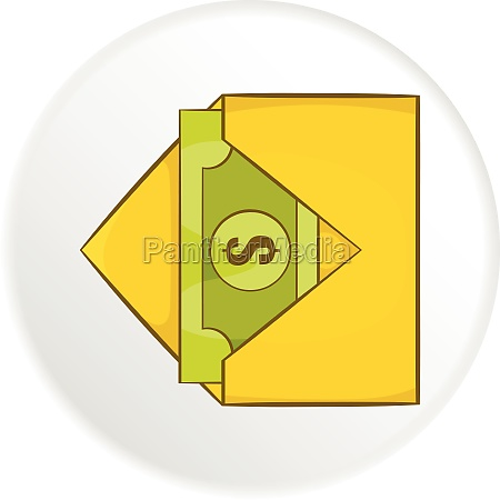 envelope with money icon cartoon style