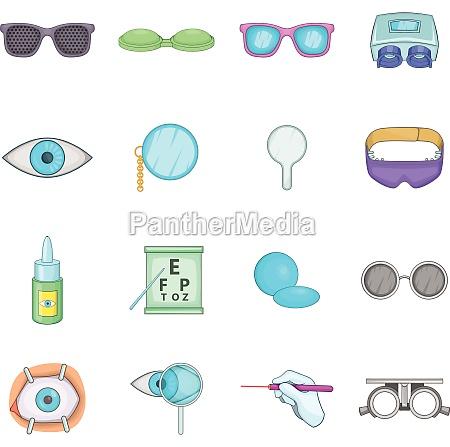 ophthalmologist icons set cartoon style
