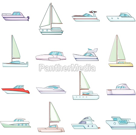 yachts icons set cartoon style