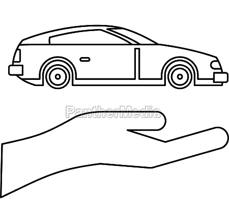 car insurance concept icon outline style