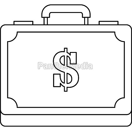 briefcase full of money icon outline