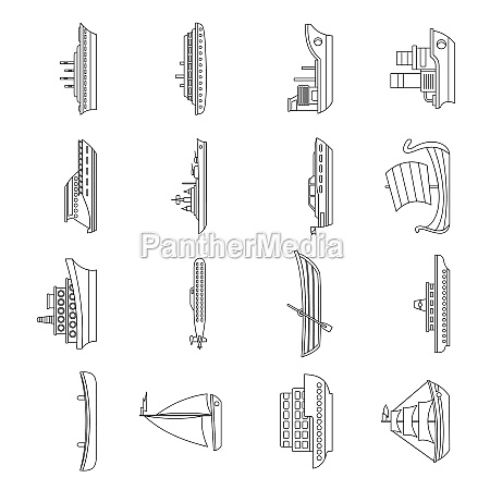 sea transport icons set outline style