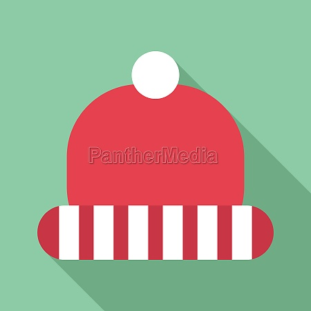 winter red hat with white stripes