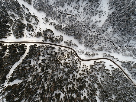 top view of curvy road over