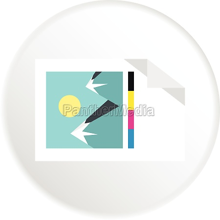 printed picture icon flat style