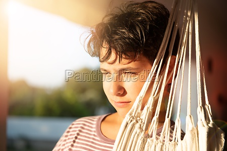 boy at sunset portrait