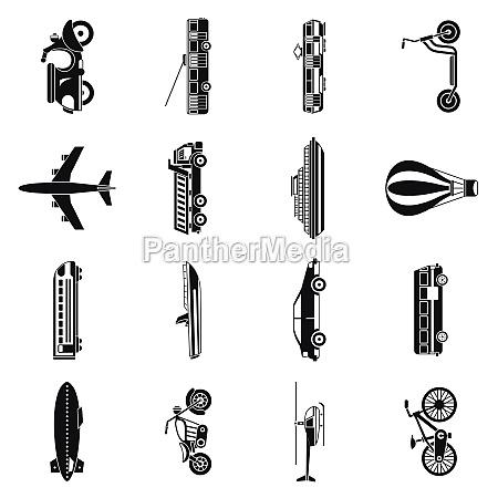 transportation icons set simple style