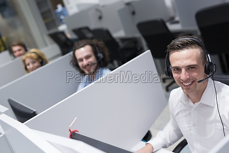 male call centre operator doing his