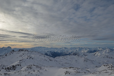 panoramic view of winter mountains