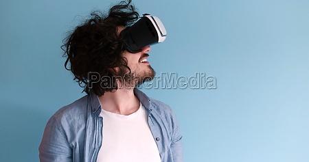 man using vr headset glasses of