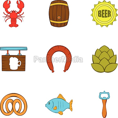 beer icons set cartoon style