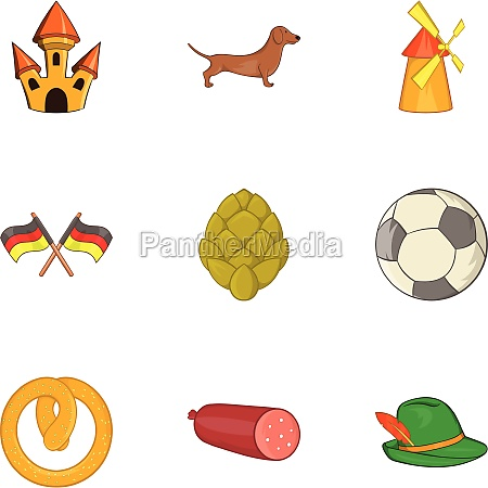 tourism in germany icons set cartoon