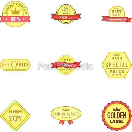 best quality label icons set cartoon