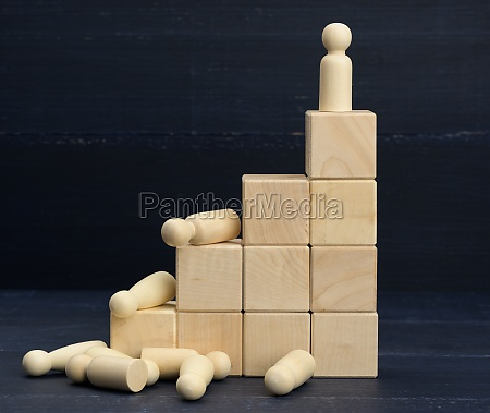 stairs from wooden cubes and a