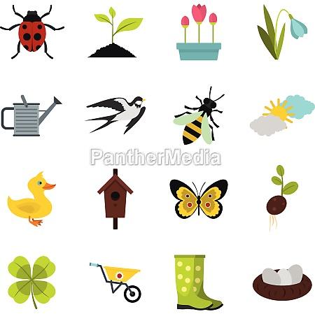 spring icons set flat style